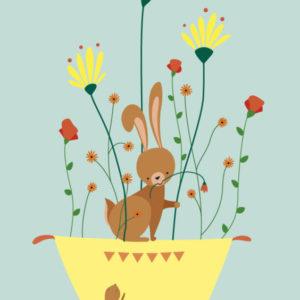alice-de-page-carte-postale-lapin-dans-les-fleurs-sur-un-nuage