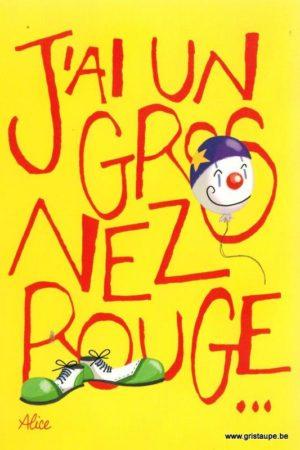 carte postale illustrée par alice nominé et éditée aux éditions gulf stream j'ai un gros nez rouge