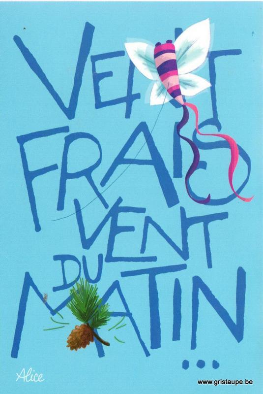 carte postale illustrée par alice nominé et éditée aux éditions gulf stream vent frais vent du matin