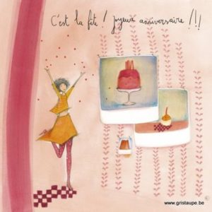 carte postale illustrée par anne sophie rutsaert et éditées aux éditions des correspondances c'est la fête jioyeux anniversaire