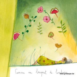 carte postale illustrée par anne sophie rusaert et éditée aux éditions des correspondances comme un bouquet de tendresse