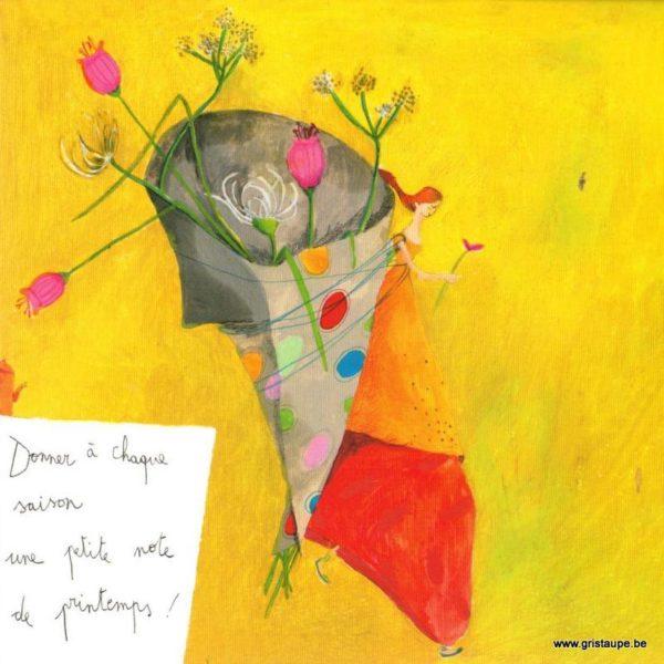 carte postale illustrée par anne sophie rutsaert et éditée aux éditions des correspondances donner à chaque saison une petite note de printemps
