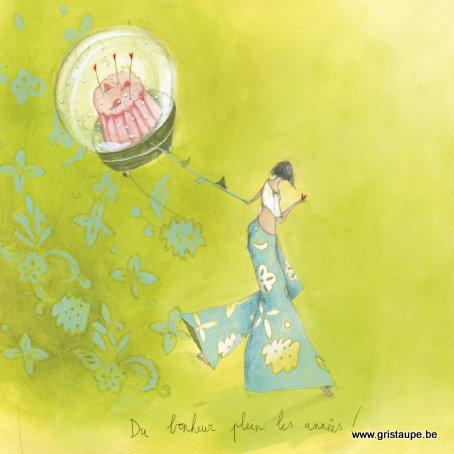 carte postale illustrée par anne sophie rutsaert et éditée aux éditions des correspondances du bonheur plein les années