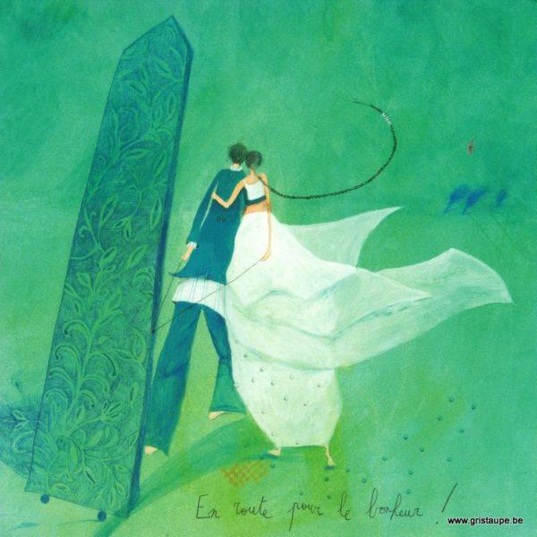 carte postale illustrée par anne sophie rutsaert et éditée aux éditions des correspondances en route pour le bonheur