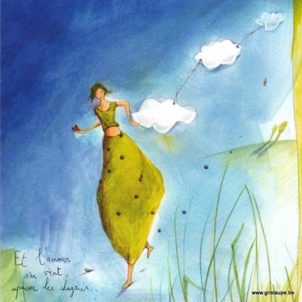 carte postale illustrée par anne sophie rutsaert et éditée aux éditions des correspondances et l'amour s'en vient apaiser les chagrins