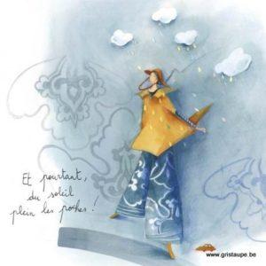 carte postale illustrée par anne sophie rutsaert et éditées aux éditions des correspondances et pourtant du soleil plein les poches