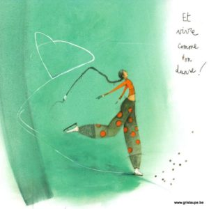 carte postale illustrée par anne sophi rutsaert et éditée aux éditions des correspondances et vivre la vie comme on danse