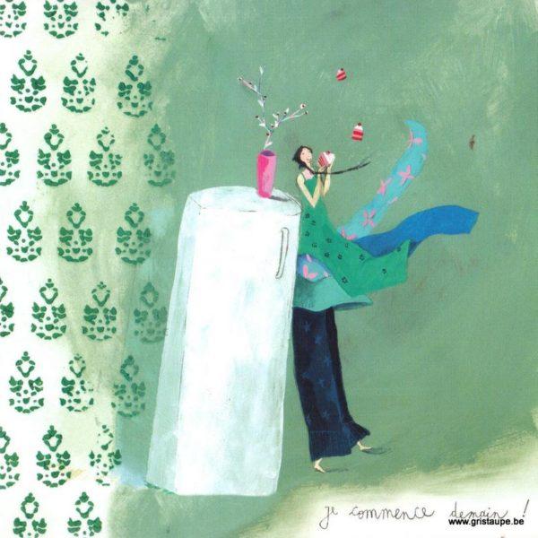 carte postale illustrée par anne sophie rutsaert et éditée aux éditions des correspondances je commence demain