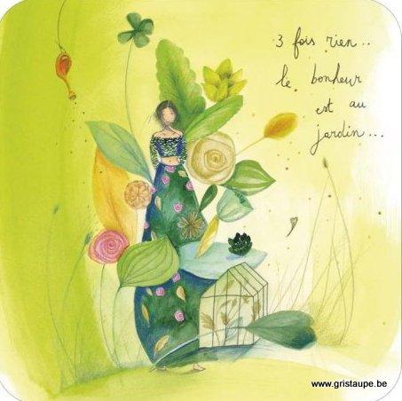 carte postale illustrée par anne sophie rutsaert et éditée aux éditions des correspondances le bonheur est au jardin