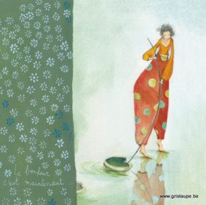 carte postale illustrée par anne sophie rutsaert et éditée aux éditions des correspondances le bonheur c'est maintenant