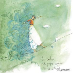 carte postale illustrée par anne sophie rutsaert et éditée aux éditions des correspondances le bonheur c'est parfois regarder la vie autrement