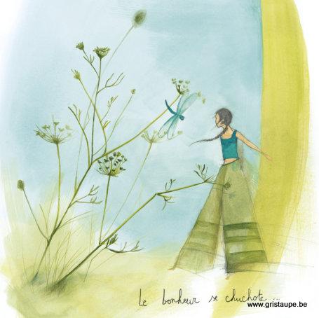 carte postale illustrée par anne sophie rutsaert et éditée aux éditions des correspondances le bonheur se chuchote
