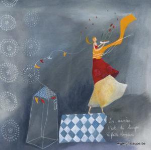 carte postale illustrée par anne sophie rutsaert et éditiées aux éditions des correspondances les années c'est du temps à faire danser