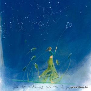 carte postale illustrée par anne sophie rutsaert et éditée aux éditions des corrspondances les rêves n'attendent qu'à voir le jour
