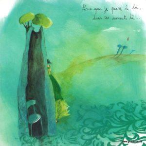 carte postale illustrée par anne sophie rutseart et éditée aux éditions des correspondances parce que je pense à toi dans ces moments là