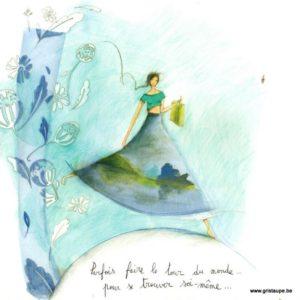 carte postale illustrée par anne sophie rutsaert et éditée aux éditions des correspondances parfois faire le tour du monde et se retrouver soi même