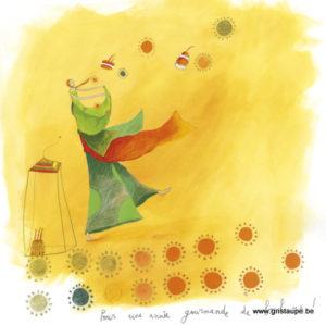 carte postale illustrée par anne sophie rutsaert et éditées aux éditions des correspondances pour une année gourmande de bonheur