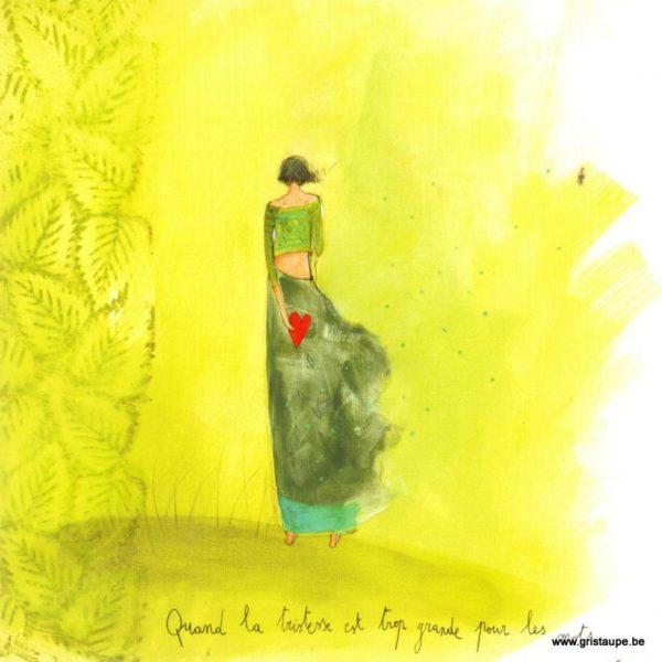 carte postale illustrée par anne sophie rutsaert et éditée aux éditions des correspondances quand la tristesse est trop grande pour les mots