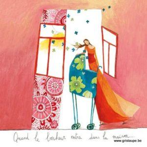 carte postale illustrée par anne sophie rutsaert et éditée aux éditions des correspondances quand le bonheur entre dans la maison