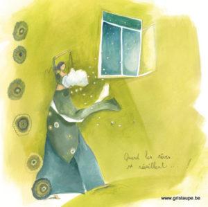 carte postale illustrée par anne sophie rutsaert et éditées aux éditions des correspondances quand les rêves se réveillent