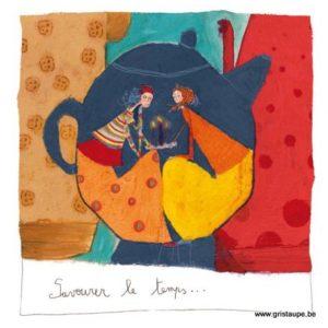 carte postale illustrée par anne sophie rutsaert et éditée aux éditions des correspondances savourer le temps