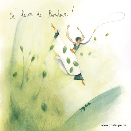 carte postale illustrée par anne sophie rutsaert et éditée aux éditions des correspondances se lever de bonheur