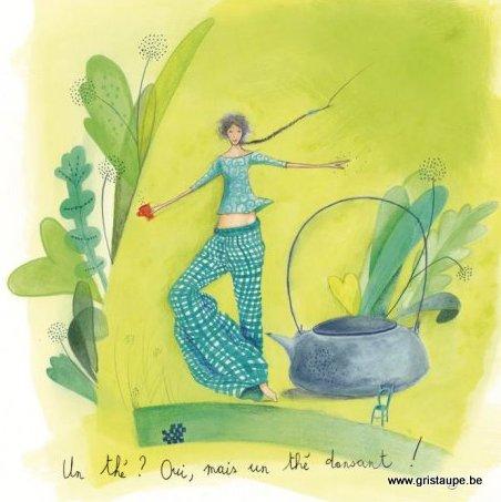 carte postale illustrée par anne sophie rutsaert et éditée aux éditions des correspondances un thé dansant