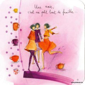 carte postale illustrée par anne sophie rutsaert et éditées aux éditions des correspondances une amie c'est un petit bout de famille