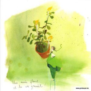 carte postale illustrée par anne sophie rutsaert et éditée aux éditions des correspondances une année fleurit et c'est la vie qui grandit