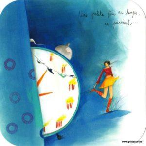 carte postale illustrée par anne sophie rutsaert et éditée aux éditions des correspondances une petit fête au temps