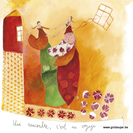 carte postale illustrée par anne sophie rutsaert et éditée aux éditions des correspondances unerencontre c'est un voyage