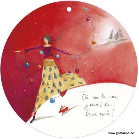 carte postale illustrée par anne sophie rutsaert et éditée aux éditions des correspondances où que tu sois je pense à toi. Bonne année