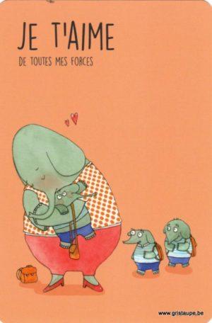 carte postale illustrée par charlotte meert et éditée aux éditions de cortil je t'aime de toutes mes forces