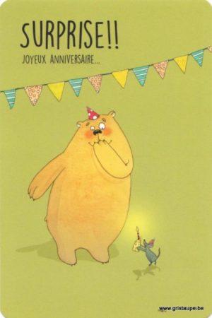 carte postale illustrée par charlotte meert et éditée aux éditions de cortil Surprise joyeux anniversaire