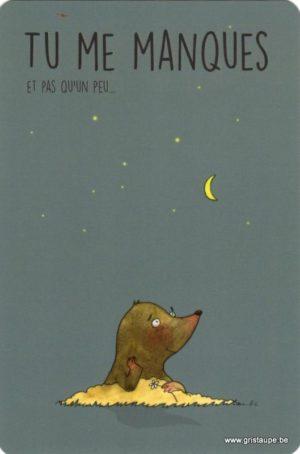 carte postale illustrée par charlotte meert et éditée aux éditions de cortil tu me manques