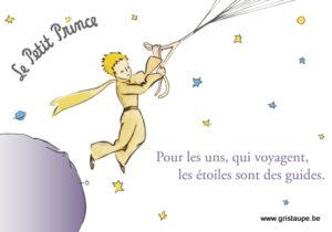 carte postales le petit prince éditée aux éditions kiub les étoiles sont des guides