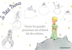 carte postale le petit prince éditée aux éditions kiub toutes les grandes personnes ont d'abord été des enfants