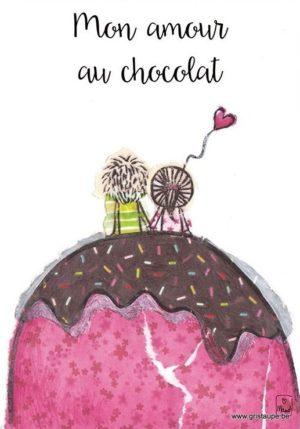 carte postale illustrée par maud rogiers et éditée aux éditions de cortil mon amour au chocolat