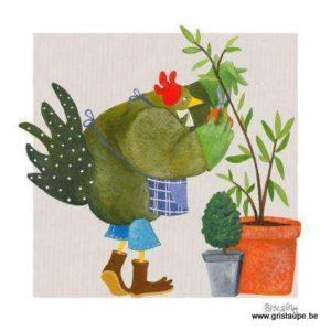 carte postale illustrée par pascaline et éditée aux éditions coté bord'eau poule au jardin