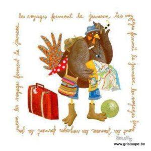 carte postale illustrée par pascaline et éditée aux éditions coté bord'eau les voyages forment la jeunesse