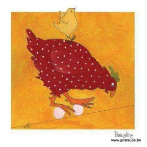 carte postale illustrée par pascaline et éditées aux éditions coté bord'eau poule roule