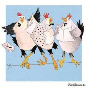 carte postale illustrée par pascaline et éditée aux éditions coté bord'eau poules chanteuses