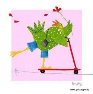 carte postale illustrée par pascaline et éditée aux éditions coté bord'eau trotinette