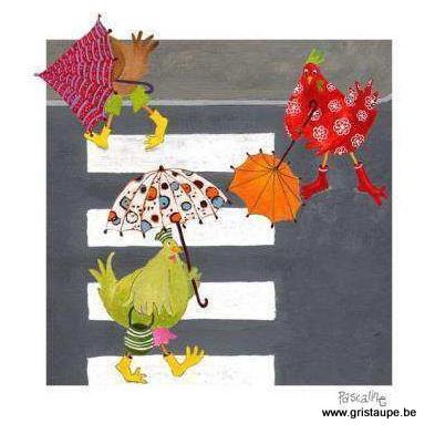 carte postale illustrée par pascaline et éditée aux coté bord'eau un petit coin de parapluie