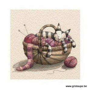 carte postale illustrée par virginie cachau et éditée aux éditions coté bord'eau chat douillet