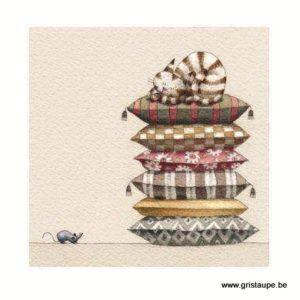 carte postale illustrée par Virginie Cachau ert éditée aux éditions coté bord'eau chat sur coussins