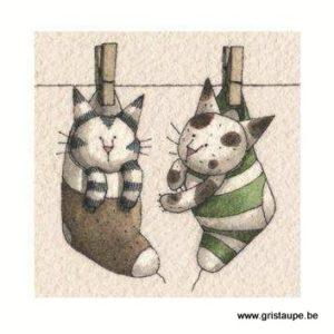 carte postale illustrée par virginie cachau et éditée aux éditions coté bord'eau chats séchés