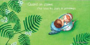 carte postale illustrée par alice de page et éditée aux éditions de cortil quand on s'aime c'est tous les jours le printemps