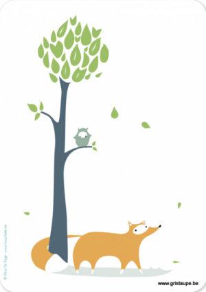 carte postale illustrée par alice de page et éditée aux éditions sur un nuage le corbeau et le renard le