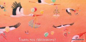carte postale illustrée par alice de page et éditée aux éditions de cortil toutes nos félicitations